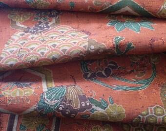 Vintage Japanese wool kimono fabric 92 cm x 36 cm oriental butterfly kikko flowers