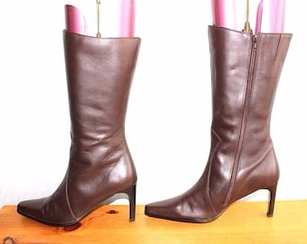 Women's Vintage HUSH PUPPIES CHILLIES Mid Heel Mid Calf Brown 100% Real Leather Boots Size UK6 EU40