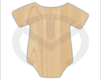 Onesie -01627- Unfinished Wood Laser Cutout, Wreath Accent, Door Hanger, Ready to Paint & Personalize, Various Sizes