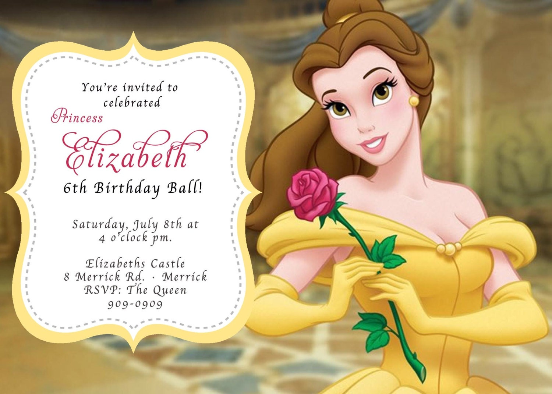 Custom Photo Invitations Belle Beauty The Beast Birthday