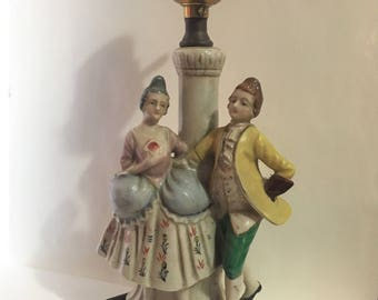 1940's Lamp Base with Colonial Couple was Hand Painted & Made in Occupied Japan in Pastel Shades of Yellow, Pink and Blue w Gold Accents