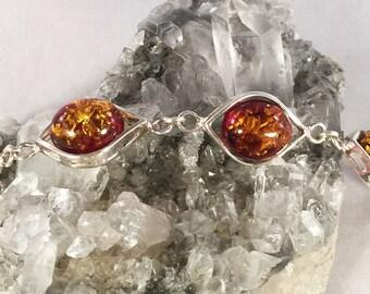 Solid 925 Sterling Silver Multi Color Green Cognac Red Flash Amber Bracelet
