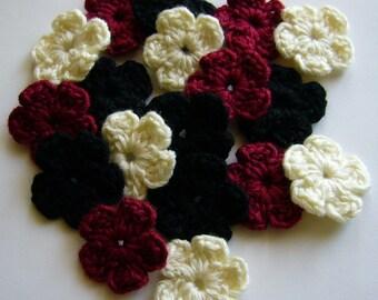 Crocheted Flowers  - Black, Burgundy, Natural - Wool Flower Appliques - Set of 6
