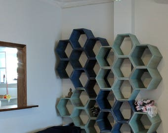 Hexagon shelves, honeycomb shelves, retail display, wall art, office decor, bookshelf, spa decor, kitchen cabinet, cubby shelf, yoga studio