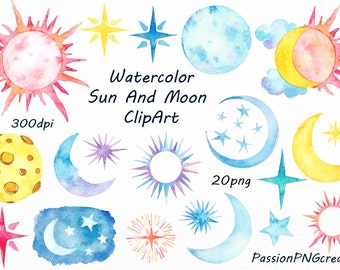 Watercolor Sun , Moon Clipart, Watercolor stars, Watercolour, clip art, digital clipart, invitation, PNG, For Personal and Commercial Use