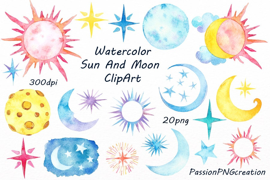 watercolor sun moon clipart watercolor stars watercolour rh etsy com Sun and Moon Coloring Pages sun and moon clipart images