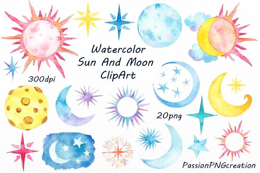 watercolor sun moon clipart watercolor stars watercolour rh etsy com Sun and Moon Coloring Pages free sun moon and stars clipart