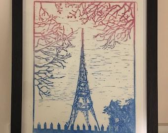Crystal Palace Transmitter - hand printed linocut