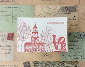 Philadelphia - five letterpress postcards