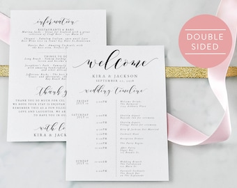 Wedding Itinerary-Editable PDF-Welcome Bag-Wedding Timeline-Welcome Letter-Wedding Favor-Wedding Printable-PDF Instant Download-#SN029_IT