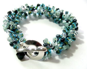 Teal and Black Chunky Bracelet