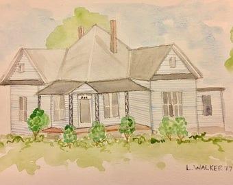Custom Watercolor House Portrait