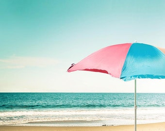 beach umbrella photography ocean nautical decor wall 8x10 24x36 fine art photography beach coastal prints summer photography pink teal blue