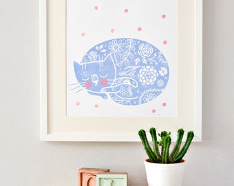 Sleepy Kitty screenprint blue/pink