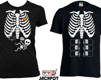Maternity Matching Halloween Shirts Pregnancy Halloween Costume Maternity Skeleton T Shirt Halloween Pregnancy Announcement Shirt MD-555-565