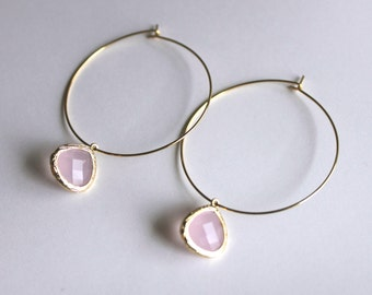 Pink Hoop Earrings in Gold, Pink Earrings, Gold Hoops, Gift Earrings, Pink Hoops, Gold Hoops, Pink Bezel Hoops