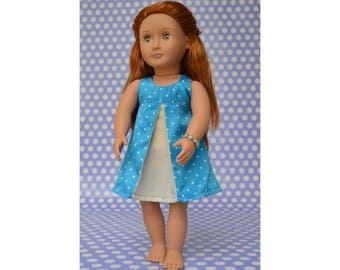 PDF sewing patterv for 18 inch doll clothes dress, American Girl doll clothes PDF sewing pattern, 18 inch doll clothes pattern