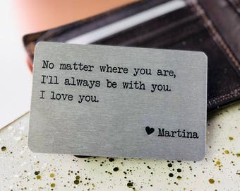 Personalized Metal Wallet Insert Card with Love Quote Long Distance, Christmas Gift for Boyfriend Girlfriend Husband Wife, Printed for you