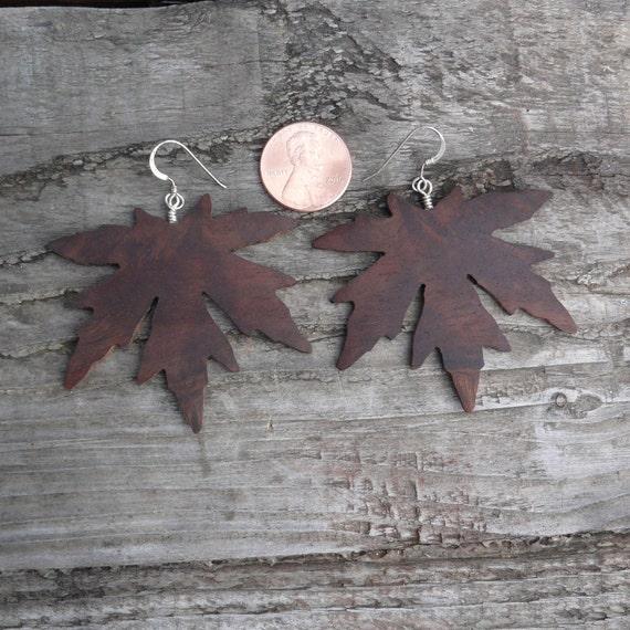 Oversized big earrings, Large Leaf Earrings, Dangle drop leaf Big earrings, Boho wood jewelry, Japanese Maple earrings, Hippie Nature Lover