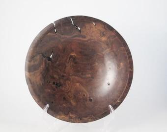 """Claro Walnut Burl bowl #790.  10.5"""" x 2"""""""
