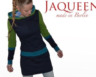 hooded dress darkblue green petrol XS S M  L XL