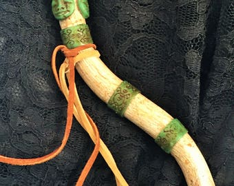 Wand - Faux Antler and Jade with Goddess Faces