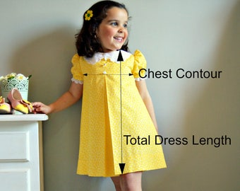 Baby, Toddler and Girl Dresses.  STANDARD CHART SIZES. Moniques things Shop.