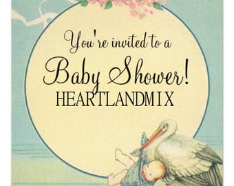 Vintage Baby Shower Card Download Printable Digital Image Stork and Baby