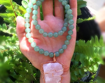 Rose Quartz Wire Wrapped Pendant on Green Aventurine Beaded Necklace