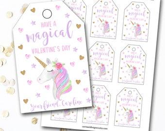 Unicorn Valentine's Day Tag, Unicorn Valentine's Tag, Unicorn Tag, Personalized Valentine's Tag, Unicorn Party, DIY Printable