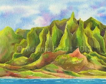 5x7 Kauai Na Pali Coast Painting by Melanie Pruitt as seen at Marriott Hawaii