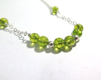 Peridot Jewelry, Natural Green Stone Necklace, Peridot Necklace, Silver Green Necklace, Birthday Stone, Lime Green Necklace, Peridot Silver