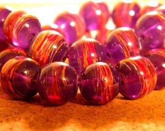 10 trefilee 10 mm translucent purple - PE206 7 glass beads