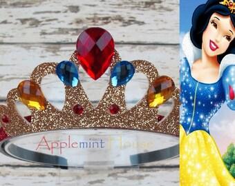 Snow White crown, Snow White Birthday Crown, costume, headband, Snow White Elastic Headband, Disney princess crown, snow white costume crown