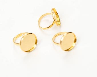 100 Gold Rings - WHOLESALE - Holds 18mm Cabochon - Gold Plated - Adjustable - Ships IMMEDIATELY from California - A610c