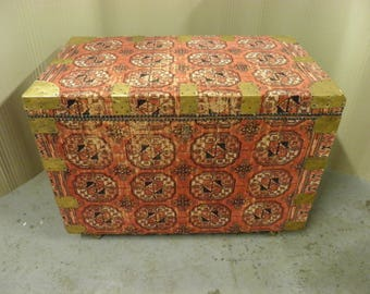 Antique 19thC. Decorative Pine Chest Covered In Vintage Belgian Kilim Style Rug