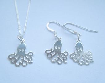 Sterling Silver 925 Octopus Necklace & Earrings Set