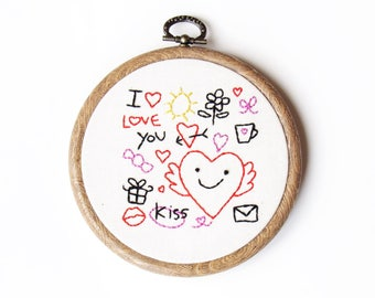 I love you hand embroidery wall art gift ideas