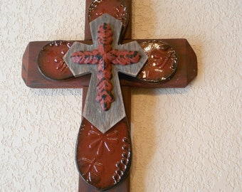 """Rusty red cross with red metal, brownish and red center cross  16""""x9"""""""
