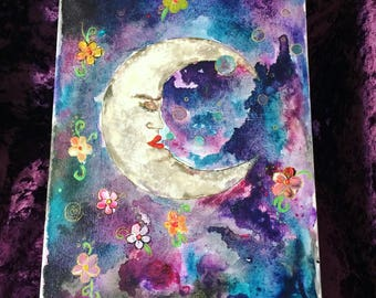 ORIGINAL PAINTING Crescent Moon Magic