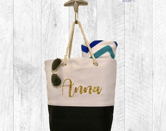FAST SHIPPING / Personalized Canvas Tote Bag / Beach Bag / Custom Bag / Bridal Party Gift