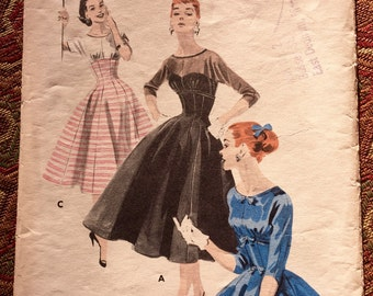 Butterick 7551 - 1950s Misses' and Junior Misses' Empire Line Dress, Size 12/Bust 30, Sewing Pattern