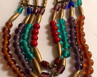 Egyptian Revival Glass Necklace - multi-colored glass necklace - beaded necklace - statement necklace - 1990s vintage - troppobella