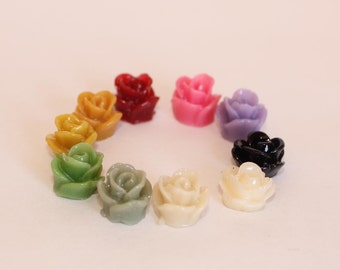24 TEENY ROSE Cabochons - 8mm - CHOOSE your Colors