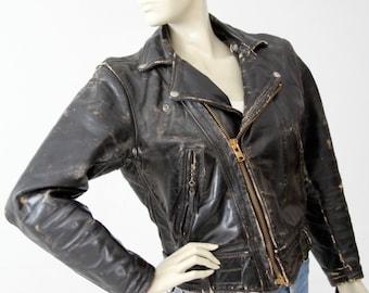 vintage Langlitz motorcycle jacket, black Columbia moto jacket small