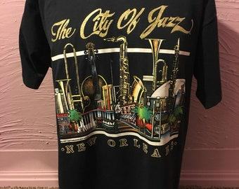 New Orleans City Of Jazz Sparkle Print T-Shirt XL 80's Screen Stars