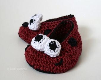 Crochet Pattern, Baby ladybug booties crochet pattern, crochet baby shoes pattern, crochet slipper pattern (64) INSTANT DOWNLOAD