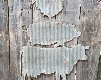 Large Cow Pig Chicken Sign/ Wall Hanging/Kitchen/Diner/Cafe/ Corrugated Metal