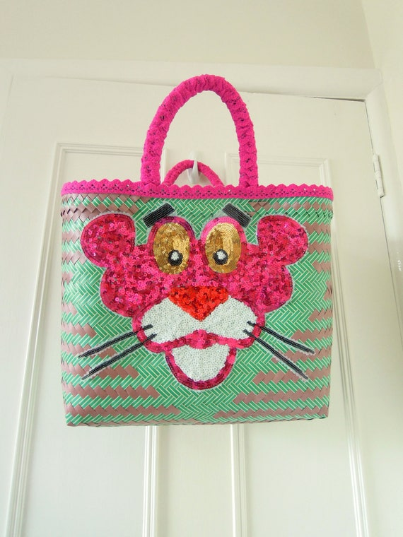 Pink Panther market bag  Large handwoven decorated beach bag  Pink Panther woven basket  Unique gift for her Pink Panther beach bag