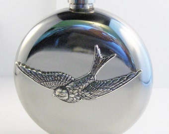 Sparrow Flask,Sparrow Accessories,Bird,Bird Flask,Round Flask,Hip Flask,Liquor Flask,STainless STeel,5 oz,Vintage Flask,Victorian Flask,